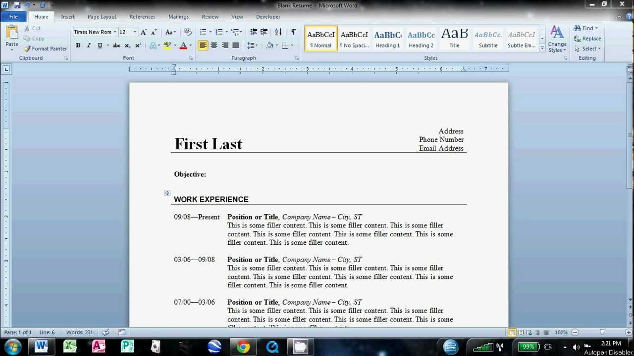 how to make a good resume on word how to make an easy resume in ...