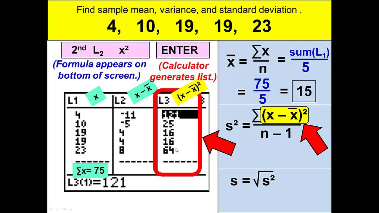 Sample Variance By Hand The Sample Variance Mathematical Sciences Sample Standard  Deviation And Variance With The