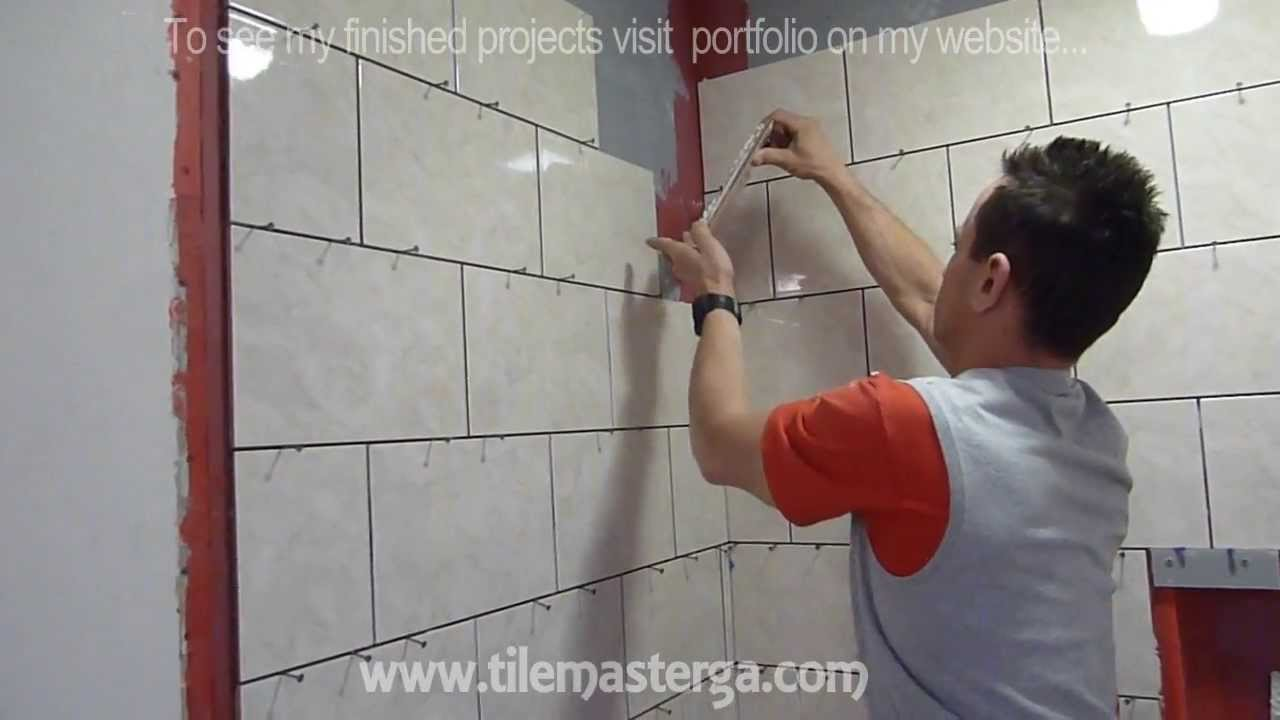 "12x24 Tile Shower Part ""3"" Shower Wall Tile Installation Diy - How To"