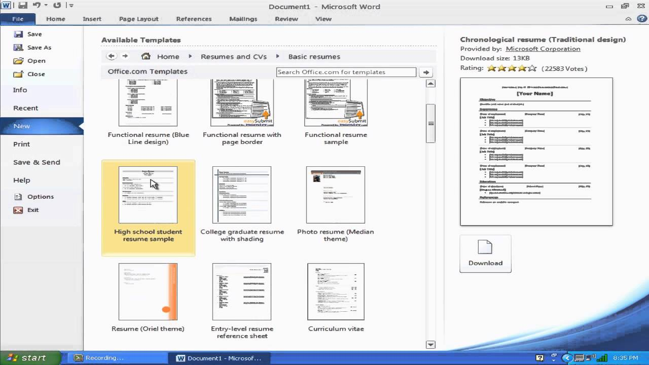 how do i find resume templates on microsoft word