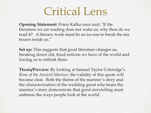 practice writing critical lens essay Final exam review for critical lens essay 6/4 more practice critical lenses step 1: paraphrase the lens  critical lens pre-writing sheet (this is homework, due .