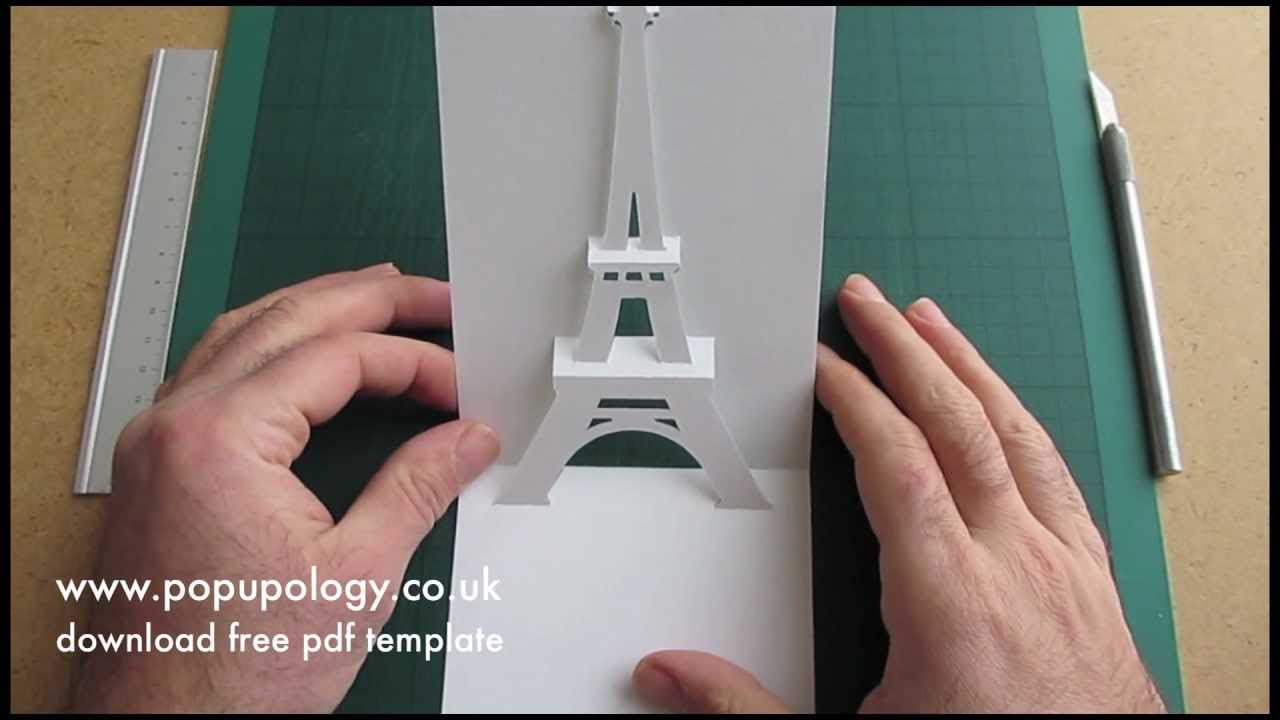 Karten Basteln Anleitung Pop Up Eiffel Tower Card Tutorial - Origamic Architecture