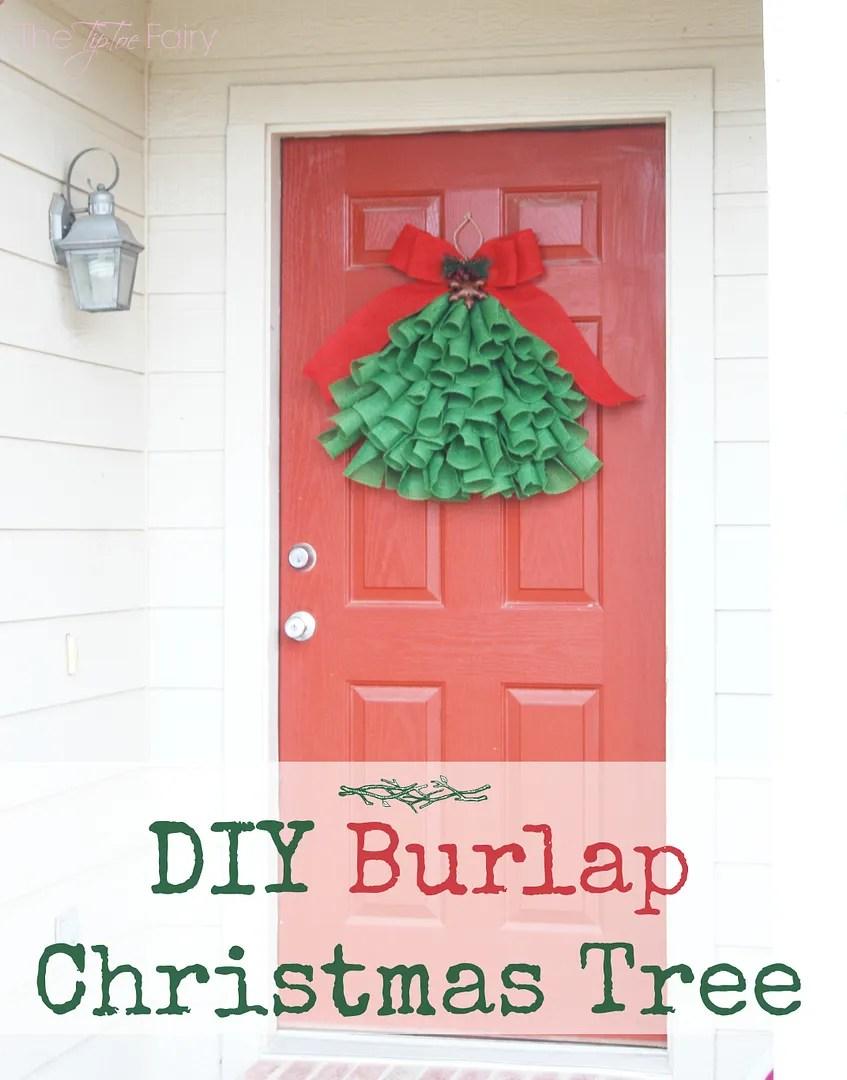 Easy DIY Burlap Christmas Tree Wall Hanging Tutorial - decor instead of a wreath | The TipToe Fairy #christmas