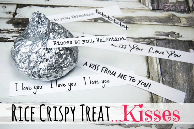 Rice Crispy Treat Kisses with FREE Valentine's Day Printable. Make the most adorable homemade Valentines. Great for a party! | The TipToe Fairy