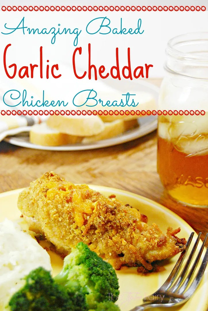 Amazing Baked Garlic Cheddar Chicken Breasts   The TipToe Fairy #garlic #chickenrecipes #bakedchicken