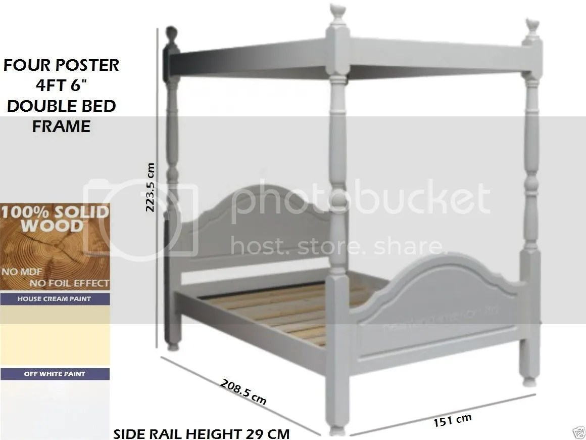 King Size Four Poster Bed Frame White Painted Bed Frame Solid Wood Four Poster Bed