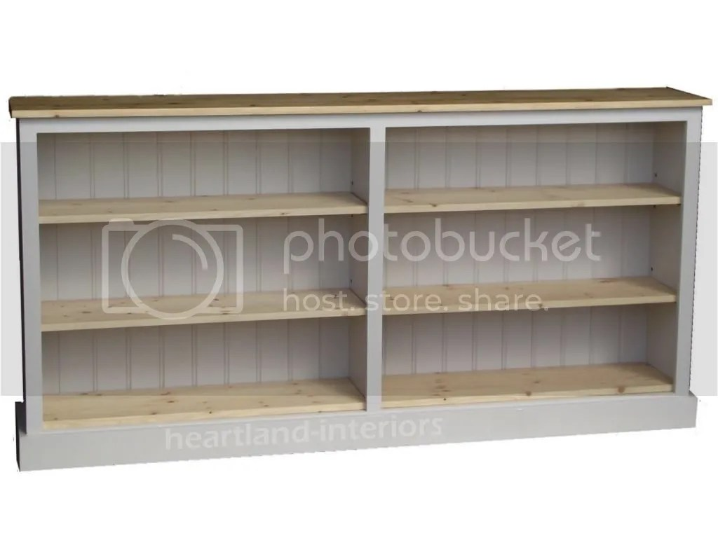 Low White Painted Bookcase6ft Wide Adjustable Display