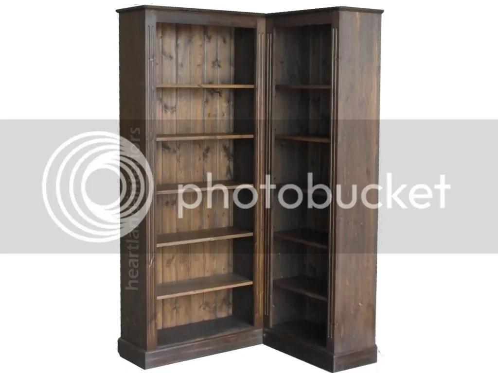 Solid Pine Corner Bookcase 6ft Tall Adjustable Display