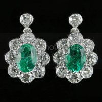 EMERALD AND OLD CUT DIAMOND EARRINGS 18CT WHITE GOLD 2CT ...