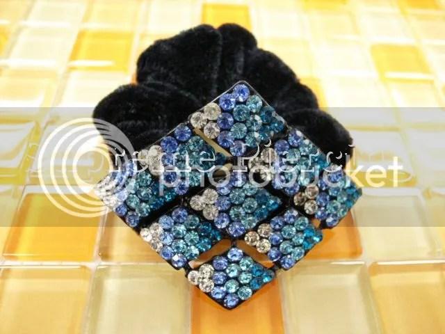 Multiple Glitter Clear Multicolor Crystal Scrunchie Velvet
