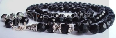 BLACK CRYSTAL PRAYER BEADS MUSLIM ISLAMIC QURAN TASBIH MASBAHA GIFT