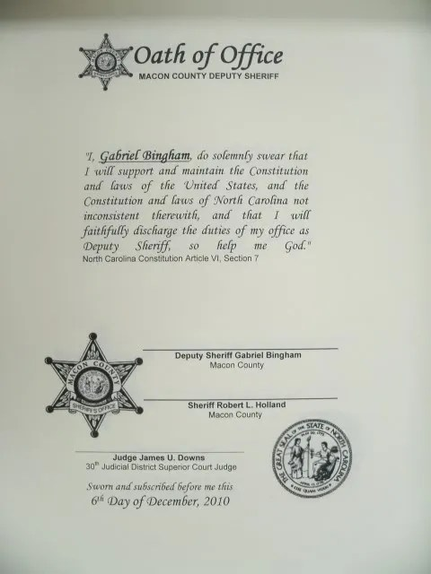Eleven Year-Old Gets His Wish \u003cbr\u003eSworn In as Macon County Sheriff - oath of office template