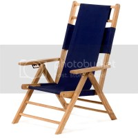 Teak Wood and Canvas Beach Chair/Lounger Outdoor Patio ...