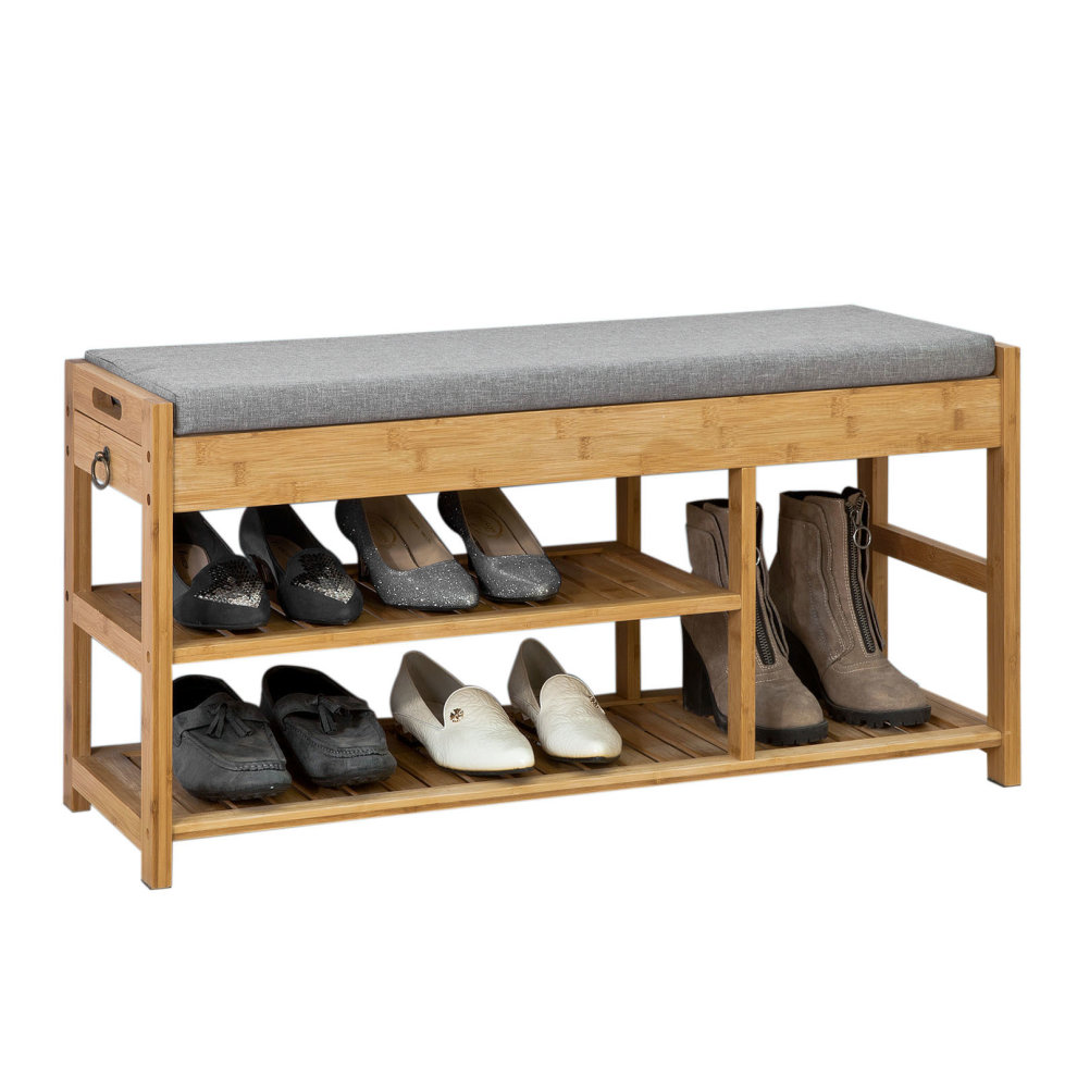 Sobuy Shop Sobuy Fsr47 N Hallyway Bamboo Shoe Rack Shoe Bench With Seat Cushion