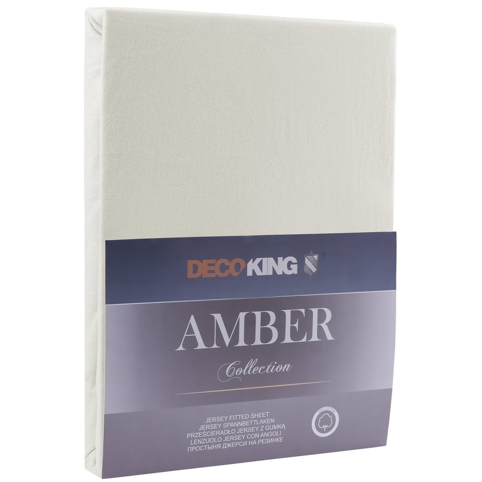 Materassi 200x200 Decoking Fitted Sheet Cotton Jersey Boxspring Amber Collection 180x200 200x200 Cm Ecru