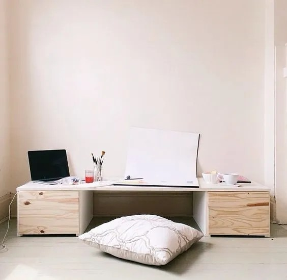 More Like Home Diy Desk Series 17 Floor Desk With Drawers - Diy Table Using Flooring