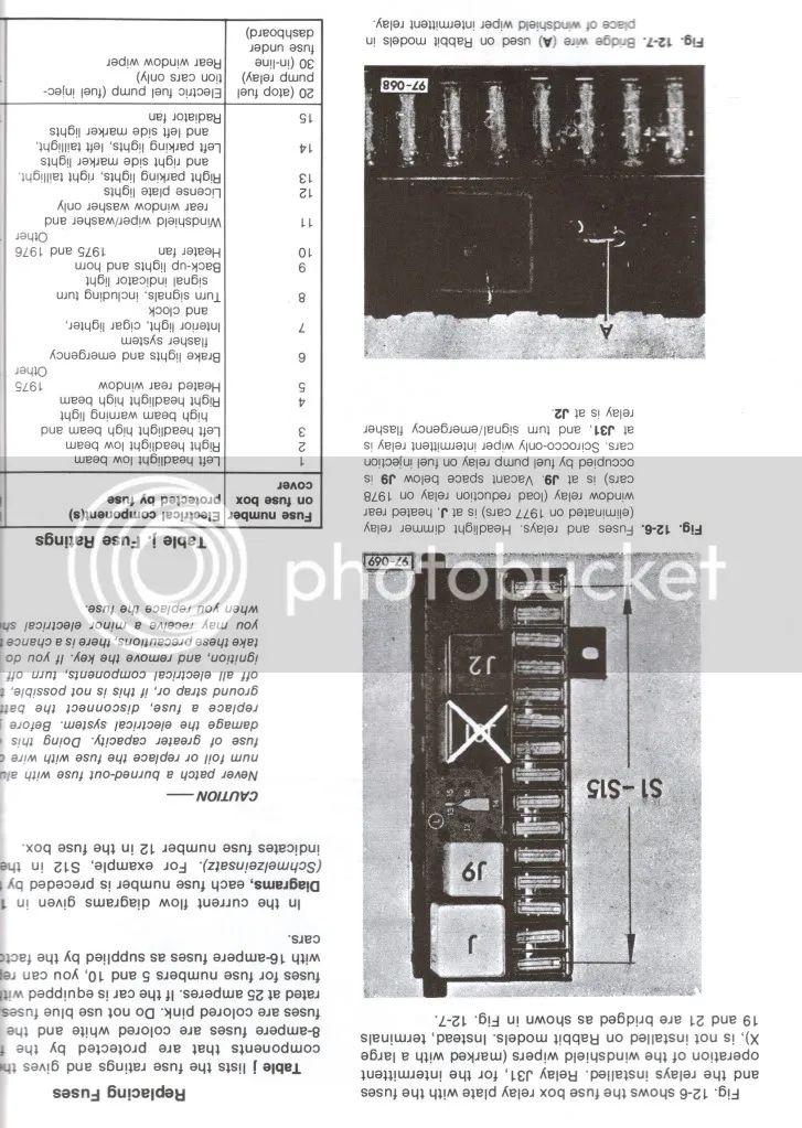 1982 volkswagen rabbit fuse box diagram