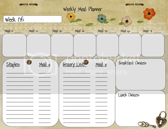 Meal Planner from Palmettos and Pigtails