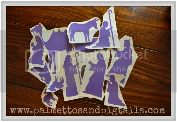 DIY Nativity Blocks using the Silhouette Machine - Palmettos and Pigtails