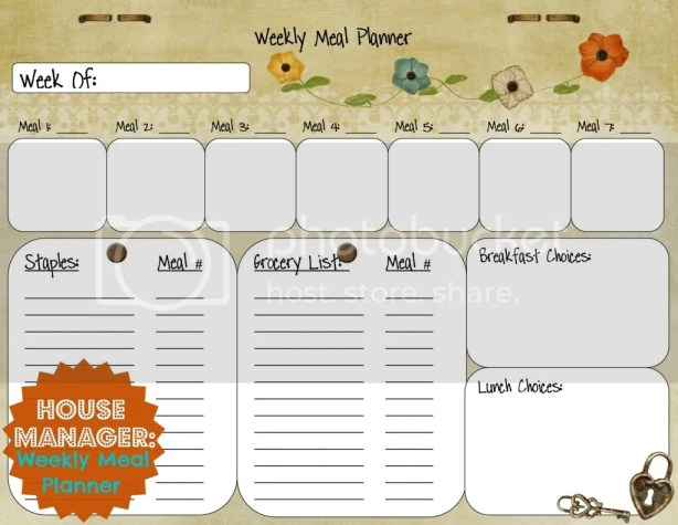 House Manager: Meal Planner Template from Palmettos and Pigtails