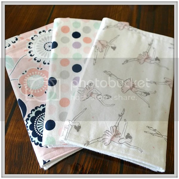 Because All Babies Puke: Why Burpcloths are Essential and a sneak peek at the new fabrics in my shop! Ballerina Burpcloths
