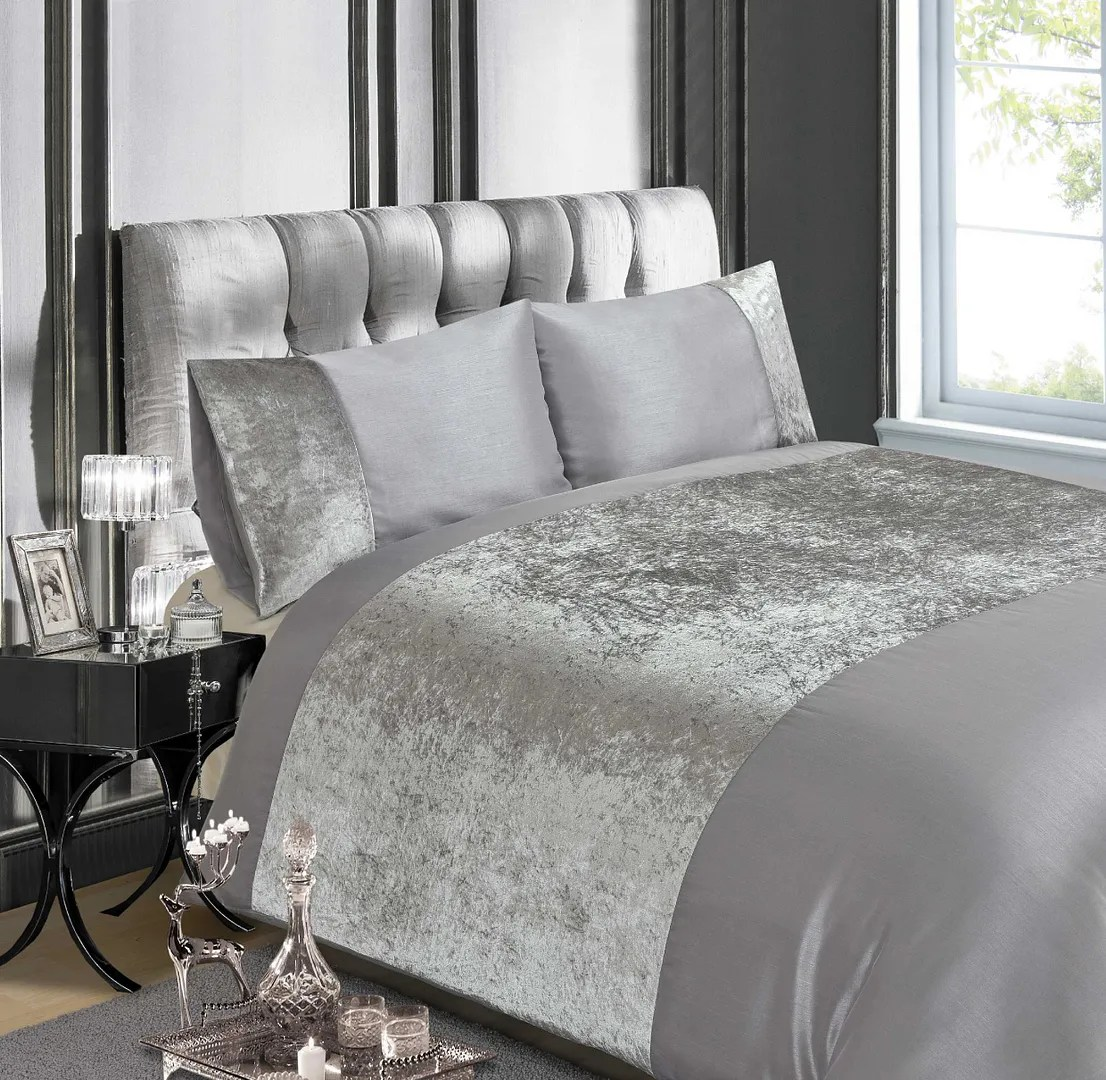 Silver Duvet Cover Details About Luxury Crushed Velvet Silver Grey Or Champagne Duvet Quilt Cover Bedding Sets