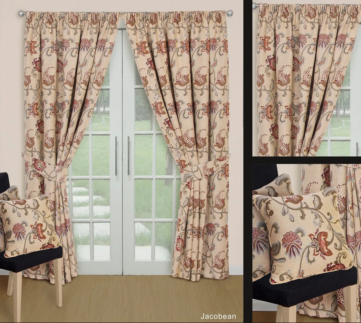 Jacquard Curtains Details About Vintage Jacobean Thick Heavy Lined Natural Tapestry Jacquard Curtains Ties