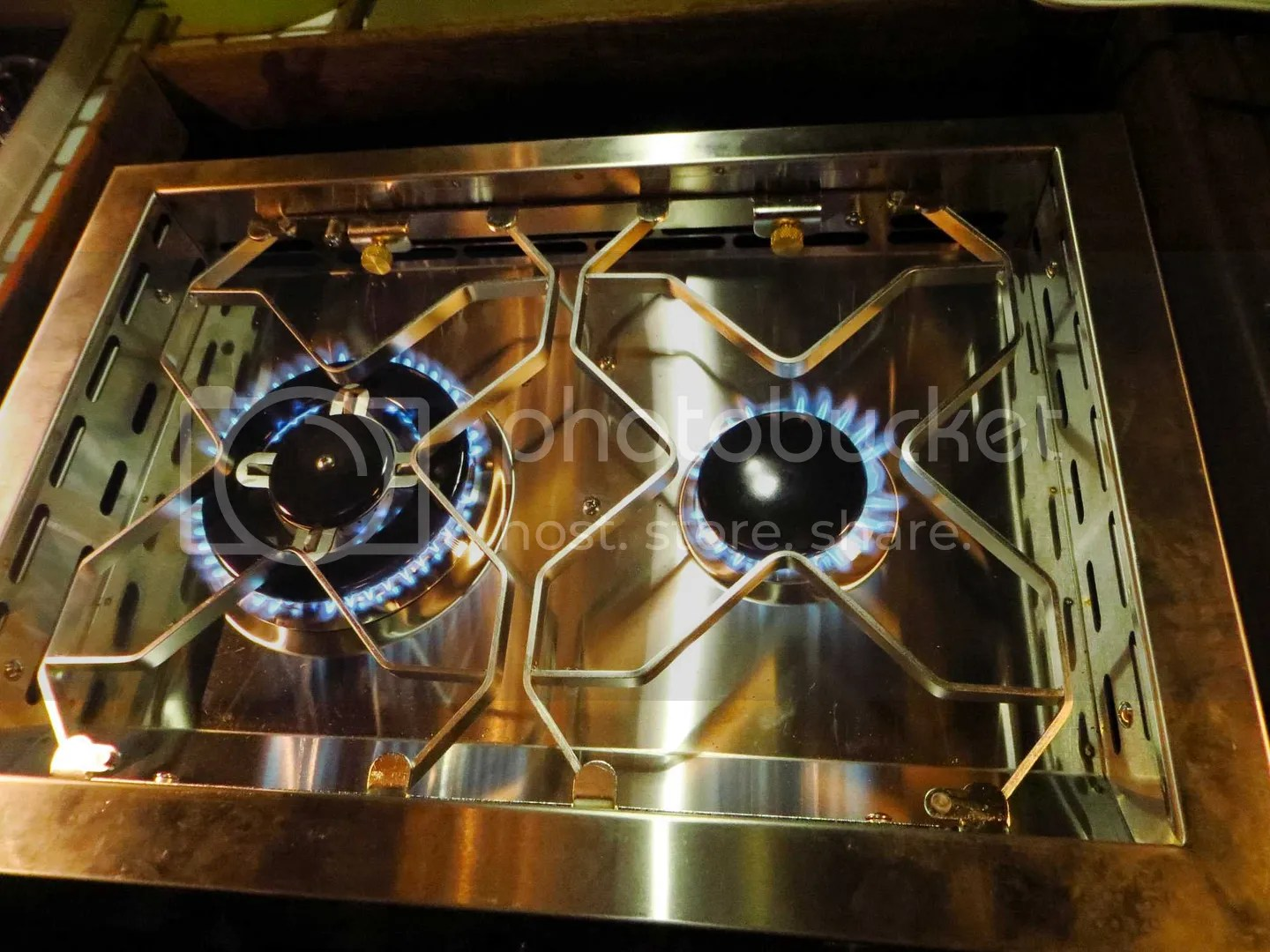Propane flames on the new Dickinson Caribbean stove