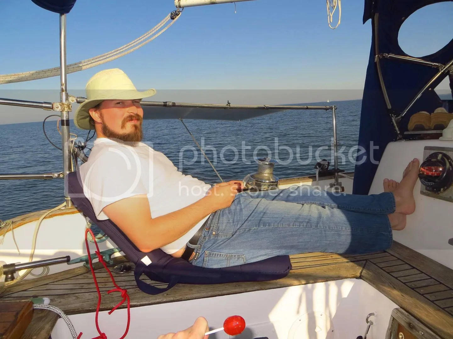 Tate relaxing during the sail