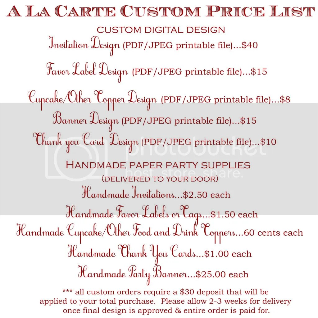 cake price list template | Education First