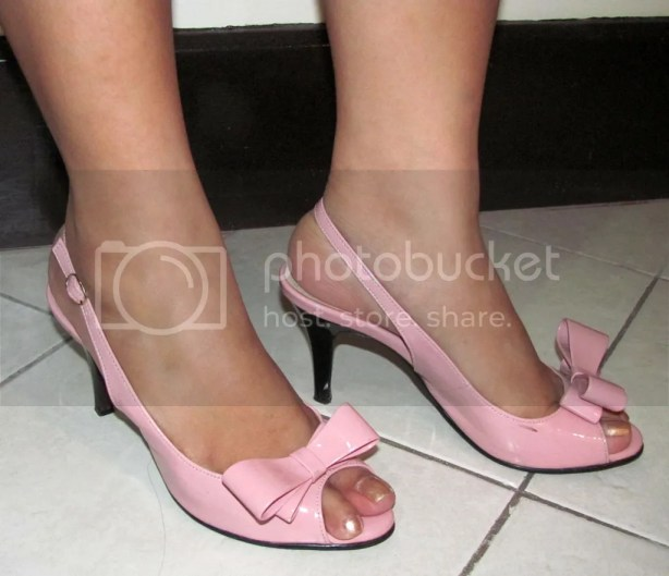 Pink Slingback Heels when worn
