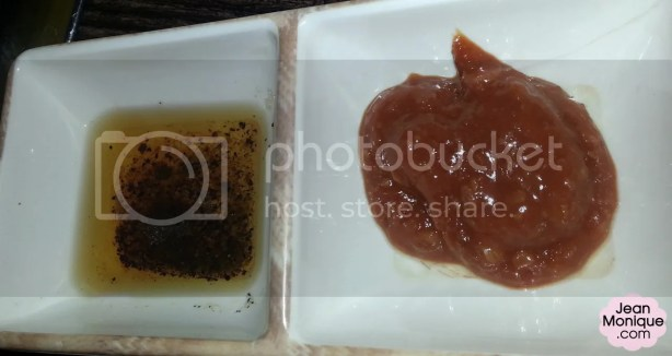 Left: sesame oil with rock salt and pepper; Right: sweet paste