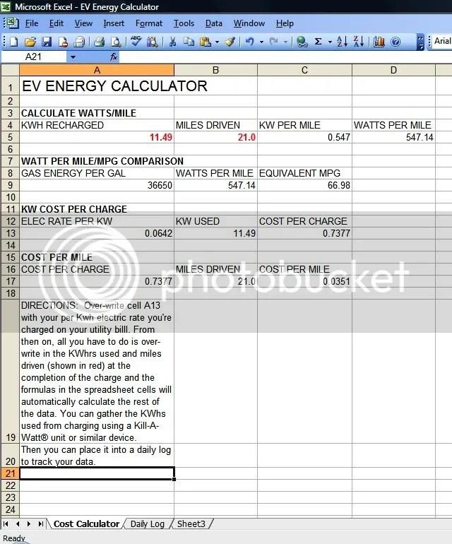 EV EnergyUsed-MPG Calculator - DIY Electric Car Forums