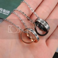 Women Men Titanium Stainless Steel Rings Pendant Necklace ...