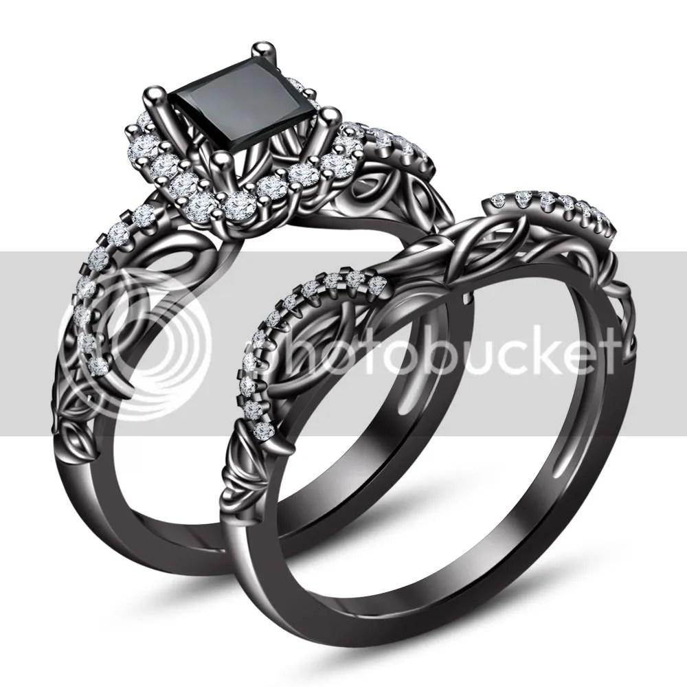 disney wedding ring Princess Cut Prong Set Stone Disney Engagement Ring 18k Black Gold Finish Bridal eBay