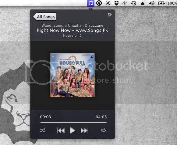 Control iTunes from MenuBar