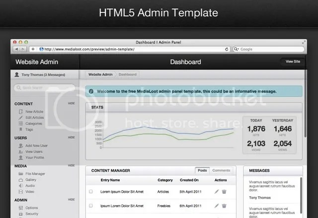 HTML5 Wesite Admin Template with PSD
