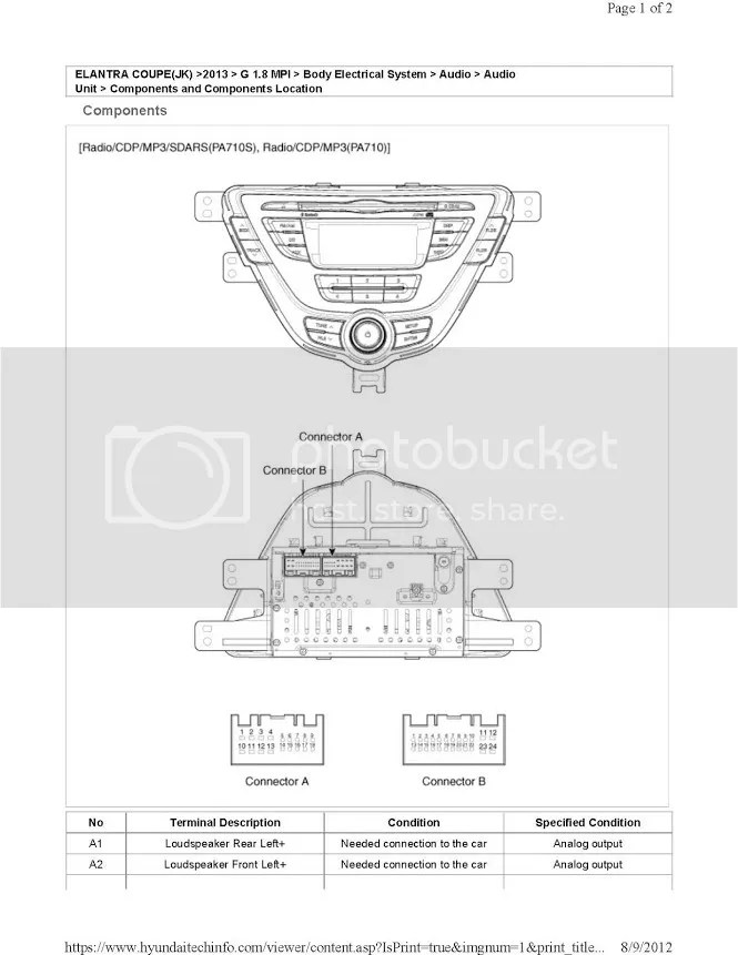 2013+ Base Stereo Wire Diagram - Hyundai Genesis Forum