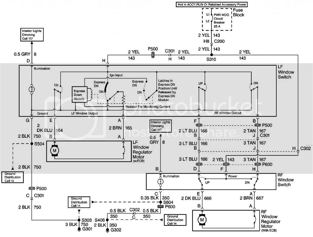 chevy cavalier window motor wiring diagram