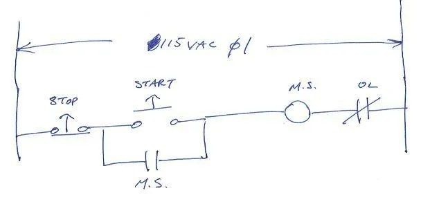 3 Wire Motor Starter Control Diagram Electrical Circuit Electrical
