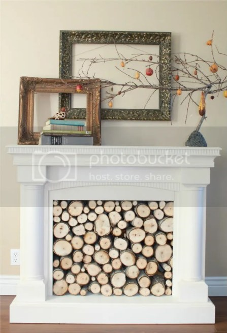 wood filled fireplace