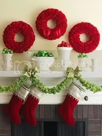 carnation mantel, red mantel