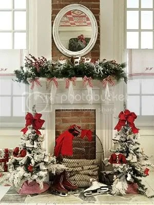 red and white mantel