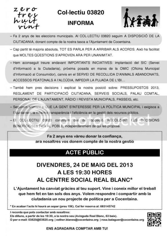 Fullet informatiu del Col·lectiu 03820 remés als domicilis contestans el mes de maig del 2013