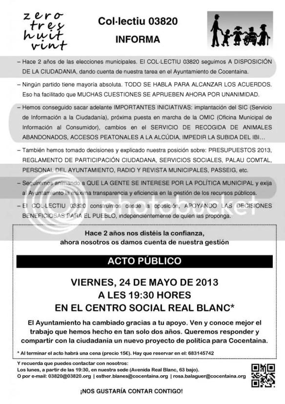 Hoja informativa del Col·lectiu 03820 remitida a los domicilios contestanos el mes de mayo de 2013