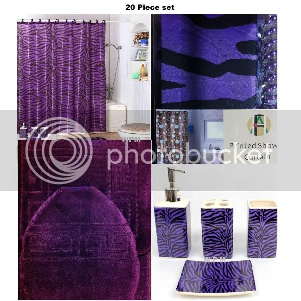 Zebra Shower Curtain Bathroom . Purple Bathroom Set ...