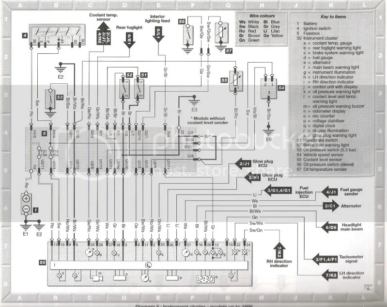 wiring diagram for the instrument cluster ** Dash problem on 14 tdi