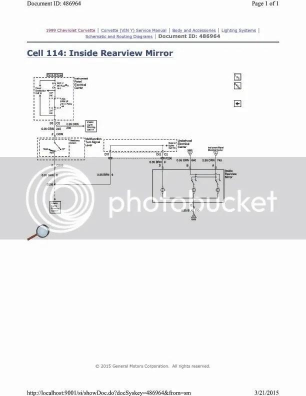 99 rear view mirror wiring issues - CorvetteForum - Chevrolet