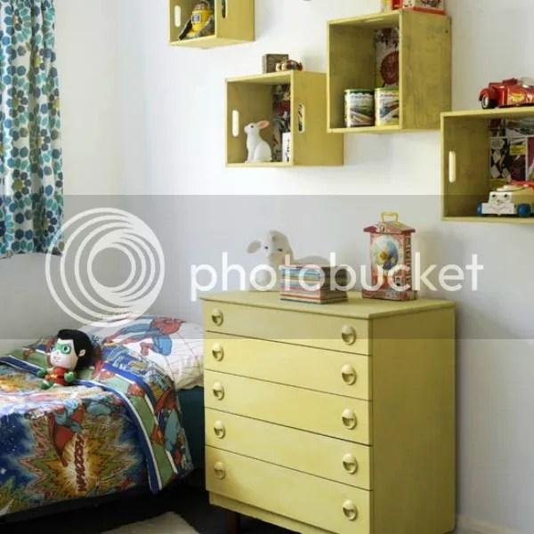 kent house tour | kids bedroom box storage on walls
