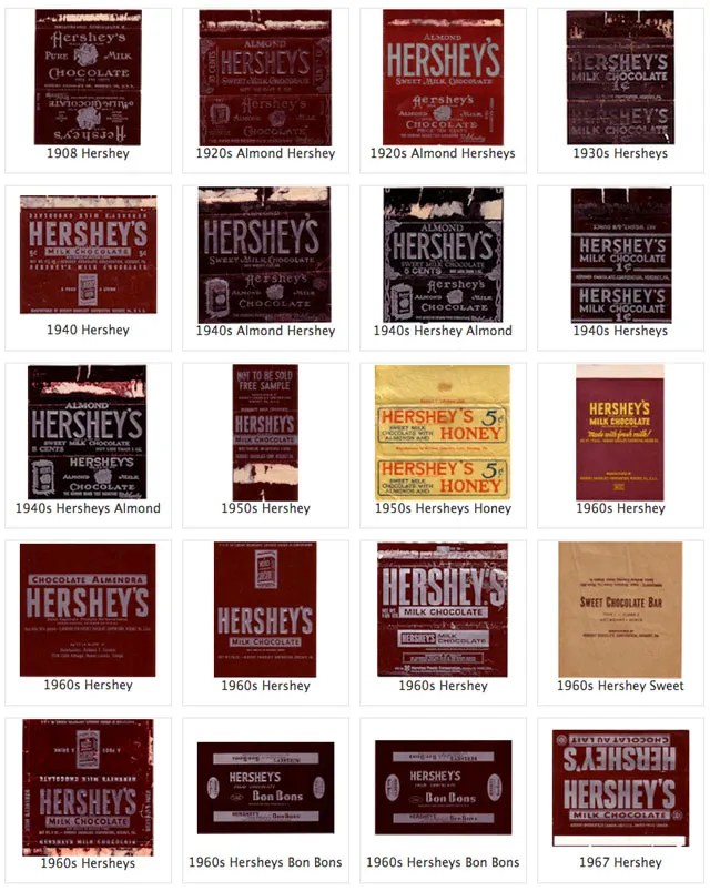 The evolution of candy bar wrappers - Quirky Cookery - hershey wrappers
